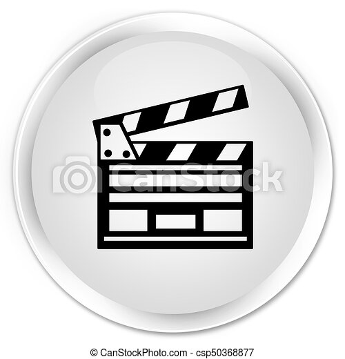 Cinema clip icon premium white round button - csp50368877