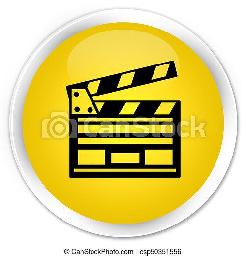 Cinema clip icon premium yellow round button - csp50351556
