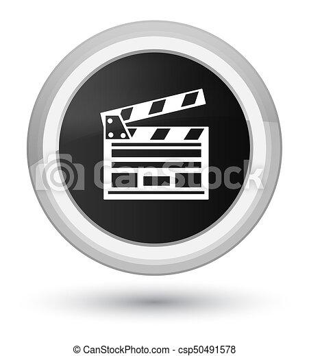 Cinema clip icon prime black round button - csp50491578