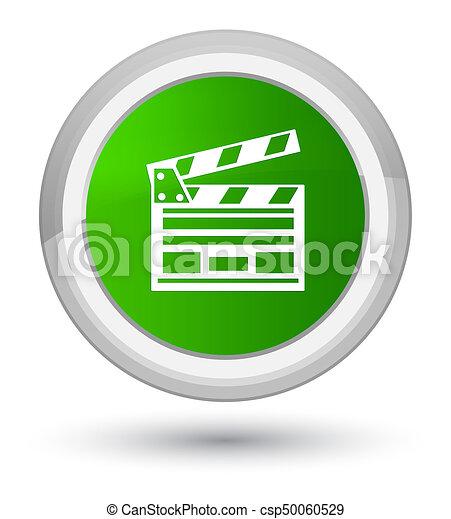Cinema clip icon prime green round button - csp50060529