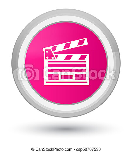 Cinema clip icon prime pink round button - csp50707530