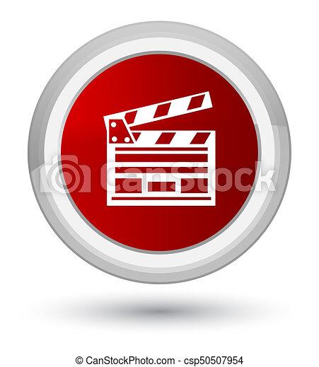 Cinema clip icon prime red round button - csp50507954