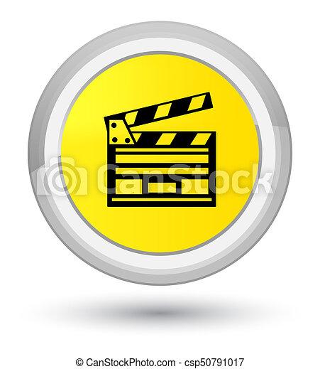 Cinema clip icon prime yellow round button - csp50791017