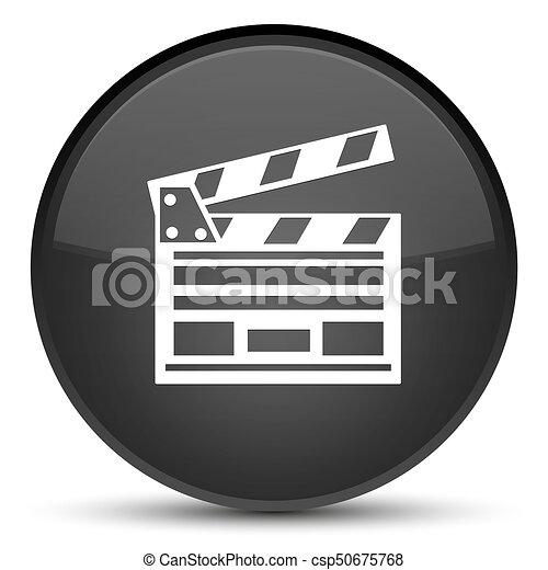 Cinema clip icon special black round button - csp50675768