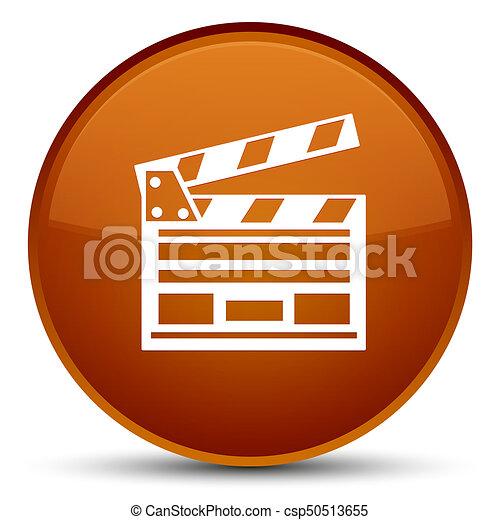 Cinema clip icon special brown round button - csp50513655