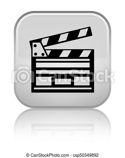 Cinema clip icon special white square button - csp50349892