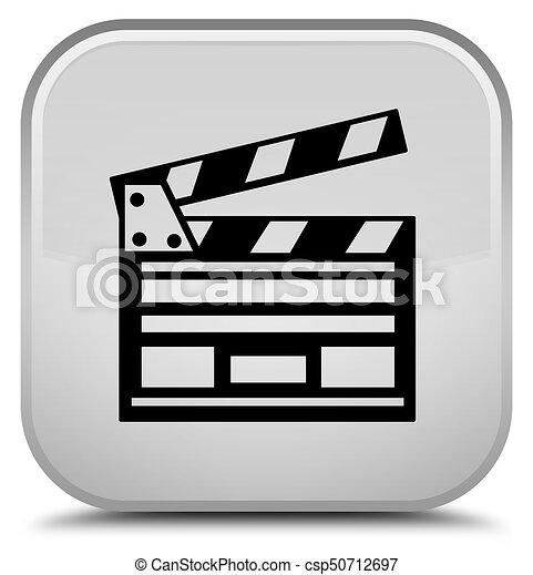 Cinema clip icon special white square button - csp50712697