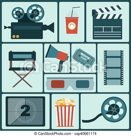 Cinema colorful icon set