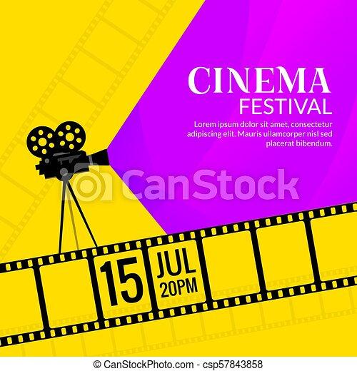 cinema festival poster template film or movie flyer festival design background - Film Festival Brochure Template