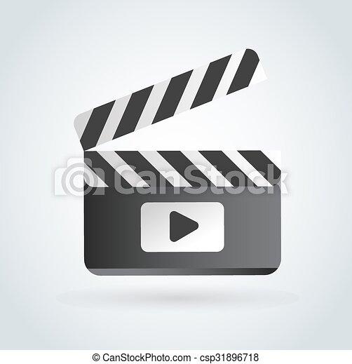 Cinema film clapper board illustration icons set - csp31896718