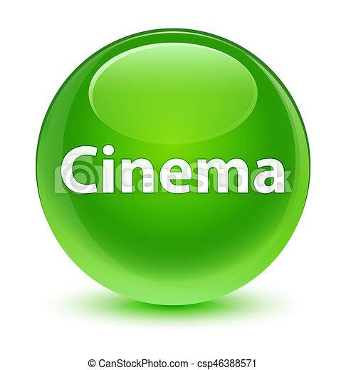 Cinema glassy green round button - csp46388571