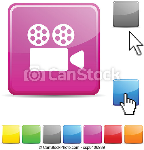 Cinema glossy button. - csp8406939