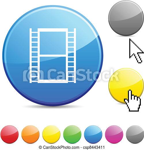 Cinema glossy button. - csp8443411