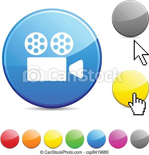 Cinema glossy button. - csp8419680