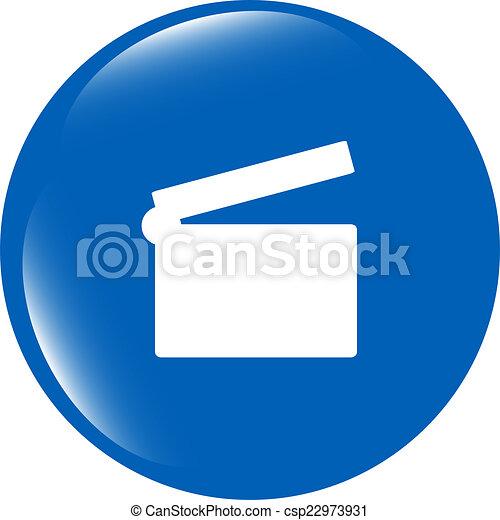cinema glossy icon button on white background - csp22973931