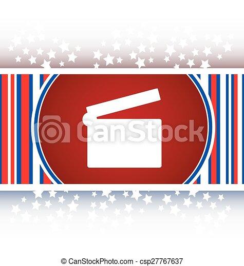 cinema glossy icon button on white background - csp27767637