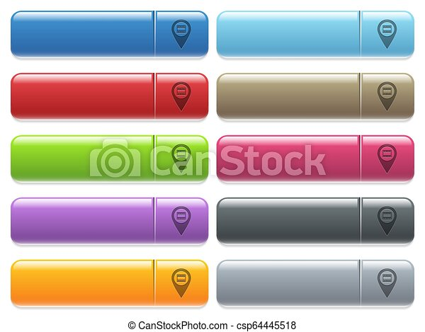 Cinema GPS map location icons on color glossy, rectangular menu button - csp64445518