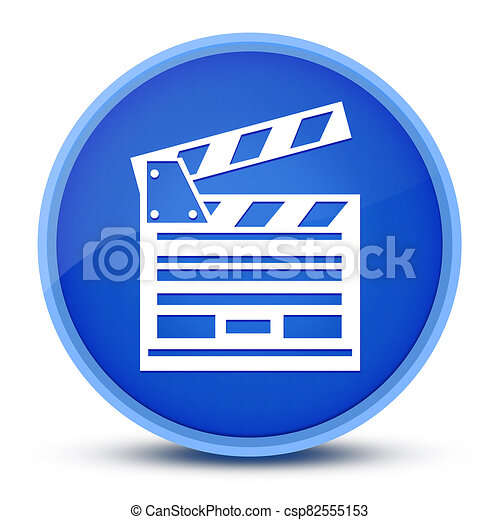 Cinema icon isolated on special blue round button abstract - csp82555153