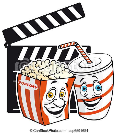 Cinema Mascots Isolated Illustration Popcorn Amd Drink Mascots On