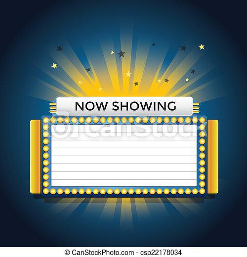 cinema, mostrando, néon, retro, agora, sinal. - csp22178034