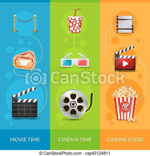 Cinema Movie Banner Poster Design Template Film Clapper 3d Glasses Popcorn Set Layout