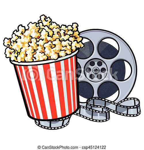 cinema objects popcorn bucket and retro style film reel vector rh canstockphoto com movie reel clip art black and white movie reel clipart border