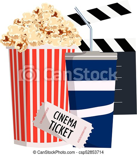 Cinema Objects Popcorn Ticket And Soda Vector Illustration