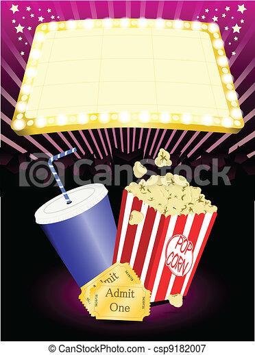 cinema popcorn and soda - csp9182007