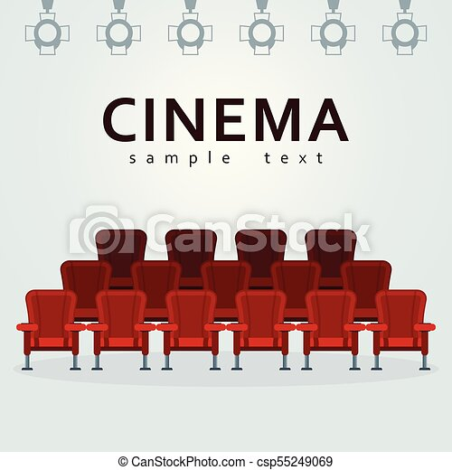 Cinema Poster Template Auditorium And Seats In A Movie Theater Flat Vector Cartoon Cinema Interior Illustration With Chair