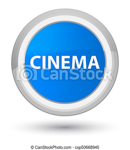 Cinema prime cyan blue round button - csp50668945