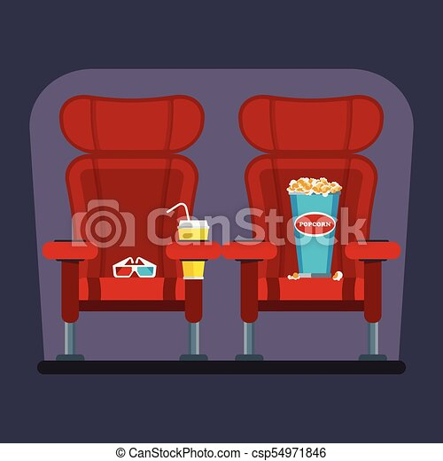 Cinema Red Chair Auditorium And Seats In A Movie Theater Flat Vector Cartoon Cinema Interior Illustration With Chair