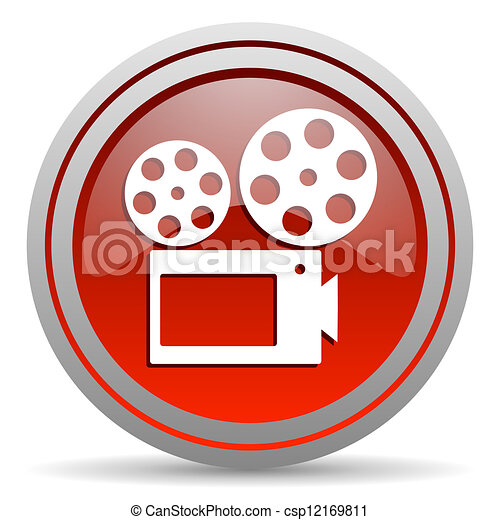 cinema red glossy icon on white background - csp12169811