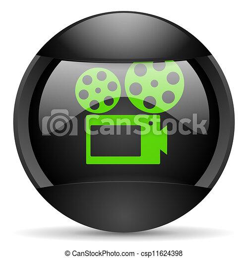 cinema round black web icon on white background - csp11624398