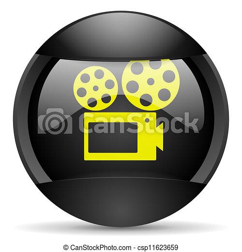 cinema round black web icon on white background - csp11623659