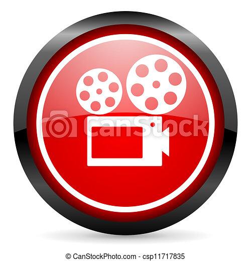 cinema round red glossy icon on white background - csp11717835