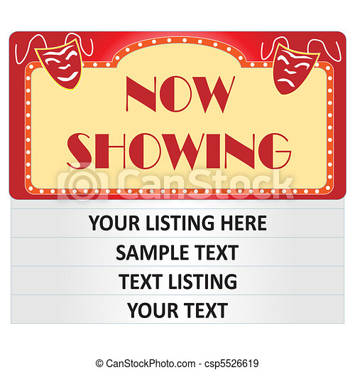 Cinema Sign Illustration Image Of A Jpg 450x470 Now Showing Blank