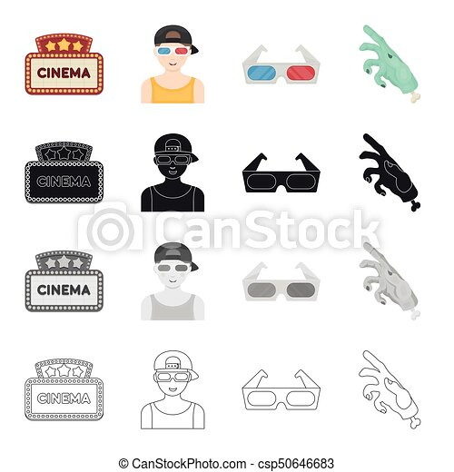Cinema sign, viewer, 3D glasses, special effects, mechanical hand  Film and  Cinema set collection icons in cartoon black monochrome outline style