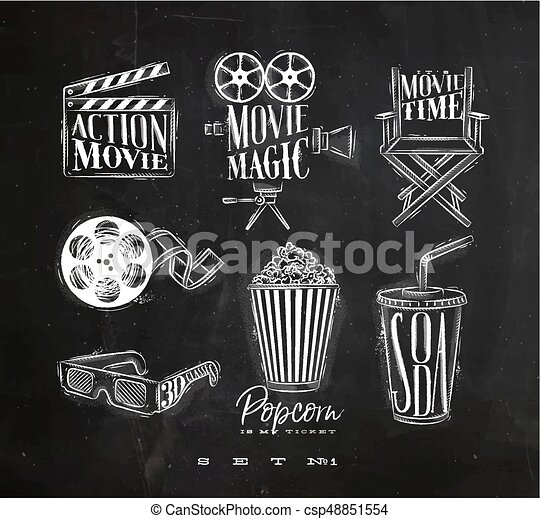 Cinema signs chalk - csp48851554