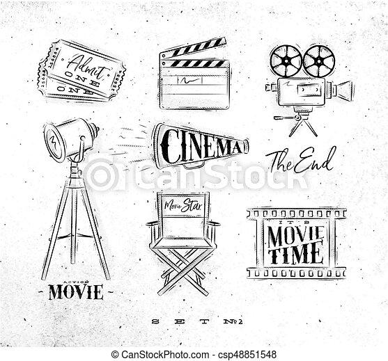 cinema symbols coal cinema symbols ticket clapperboard movie