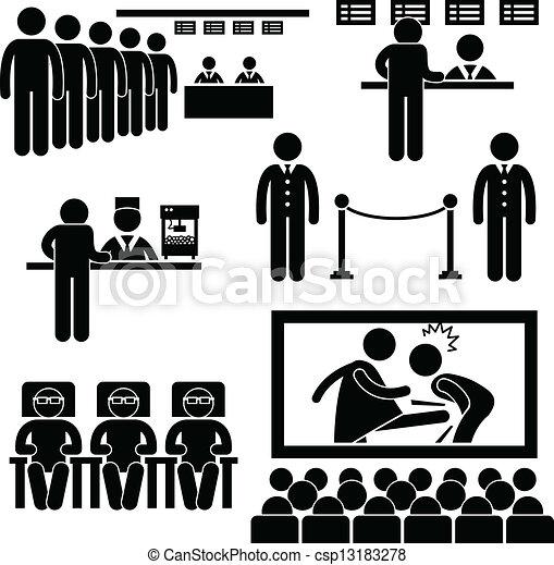 Cinema Theater Movie Film People - csp13183278
