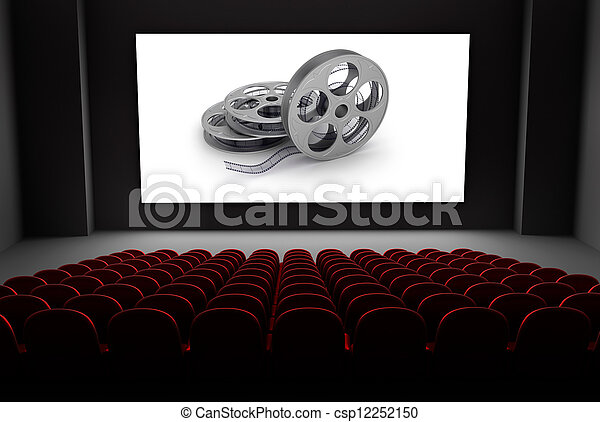 Cinema theater with reels of film - csp12252150