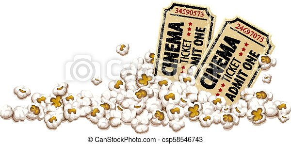 Cinema tickets for movie theater popcorn vector - csp58546743