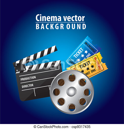 Cinema Vector Clapper Board With Movie Film And Tickets Over Blue