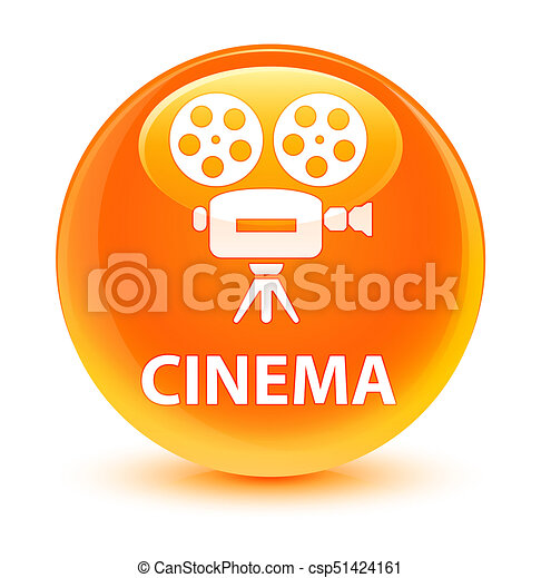 Cinema (video camera icon) glassy orange round button - csp51424161
