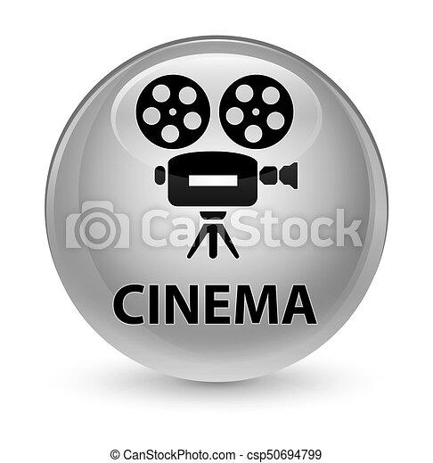 Cinema (video camera icon) glassy white round button - csp50694799