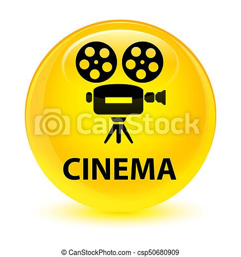 Cinema (video camera icon) glassy yellow round button - csp50680909