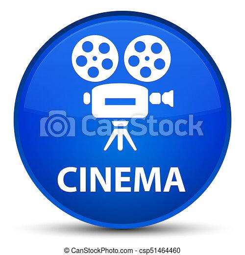 Cinema (video camera icon) special blue round button - csp51464460