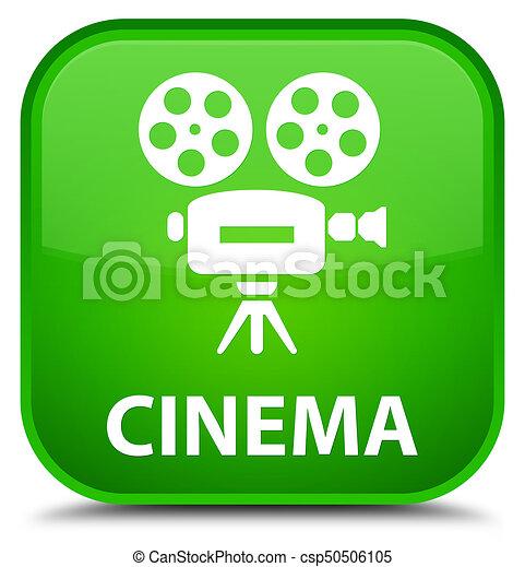 Cinema (video camera icon) special green square button - csp50506105