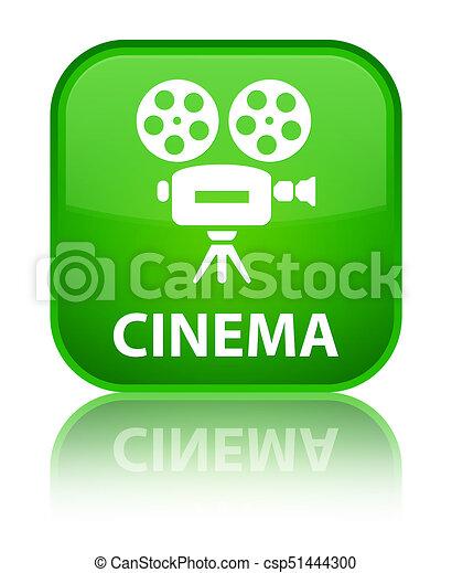Cinema (video camera icon) special green square button - csp51444300