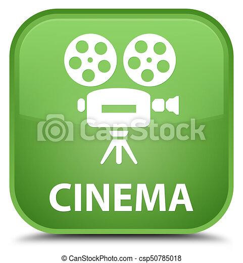 Cinema (video camera icon) special soft green square button - csp50785018